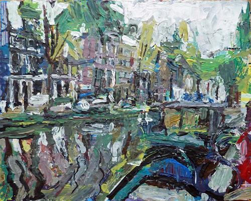 Heini Andermatt, Gracht, Amsterdam, Miscellaneous Landscapes, Architecture, New Figurative Art
