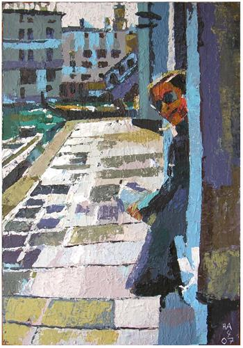 Heini Andermatt, Tina bei Rialto, People: Women, Architecture, Contemporary Art, Expressionism