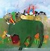 W. Lehmann, Alpabzug mit grüner Kuh