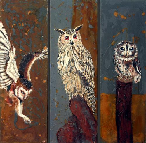 Regula Kummer, Schleiereule, Waldohreule und Waldkauz, Animals: Air, Contemporary Art