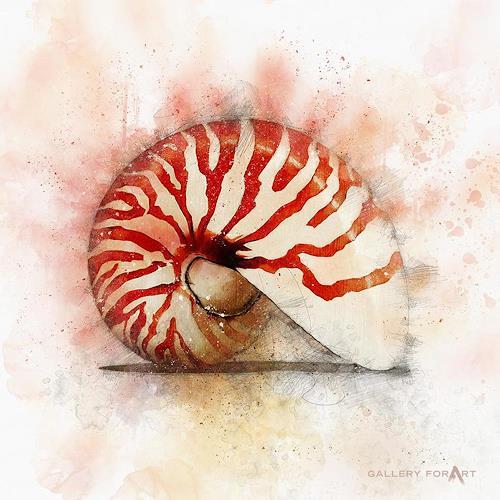 Artur Wasielewski, SHELL OWHITE NAUTILUS-RED, Decorative Art, Still life, Modern Age, Expressionism