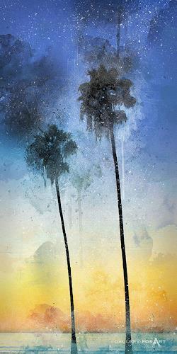 Artur Wasielewski, PALMS BEACH BOULEVARD-2-16x32, Plants: Palm, Landscapes: Tropics, Modern Age