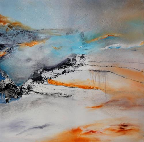 Agnes Lang, weiße Landschaft, Abstract art, Nature: Miscellaneous, Contemporary Art, Expressionism
