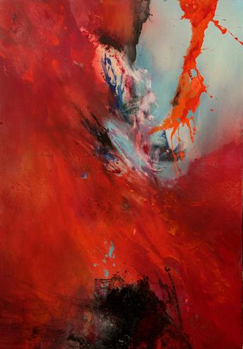 Agnes Lang, roter Wirbelwind, Abstract art, Fantasy, Contemporary Art