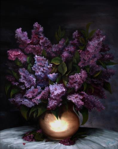 hofmannsART, Fliederstrauß, Still life, Plants: Flowers, Naturalism, Expressionism