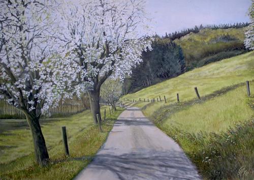 Günther Hofmann, Apfelblüte am Sandhofweg, Landscapes: Spring, Landscapes: Mountains, Realism