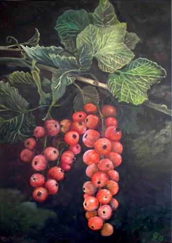 Günther Hofmann, Johannisbeere (Ribes rubrum), Plants: Fruits, Harvest, Realism, Expressionism