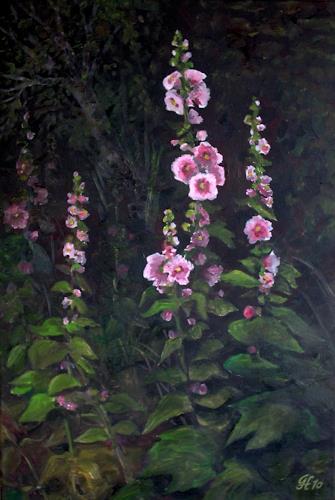 Günther Hofmann, Stockrosen im Abendlicht, Plants: Flowers, Realism