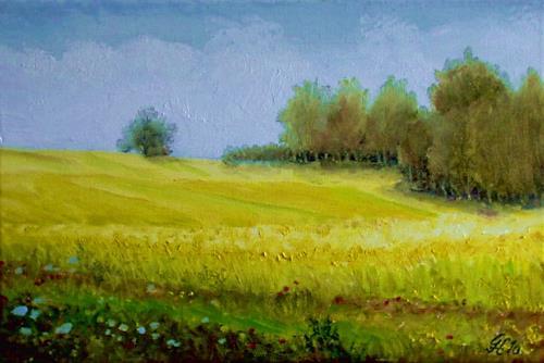 Günther Hofmann, Rapsfelder, Miscellaneous Landscapes, Miscellaneous Plants, Realism, Expressionism