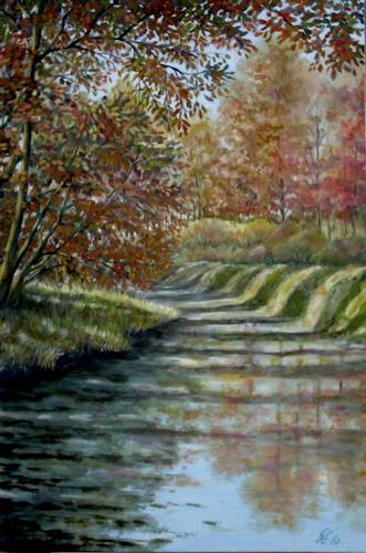 hofmannsART, Herbstlicht am Kanal, Landscapes: Autumn, Nature: Water, Realism, Expressionism