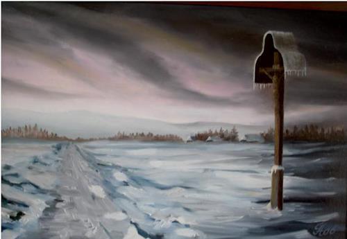 hofmannsART, Wegkreuz im Winter (Letztes Licht), Landscapes: Winter, Symbol, Naturalism