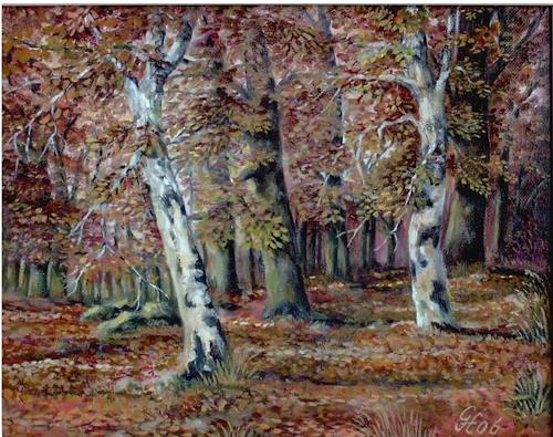 Günther Hofmann, Herbstwald, Nature: Wood, Plants: Trees, Abstract Art, Expressionism