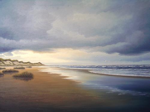 Lothar Strübbe, Auf der Insel Langeoog, Landscapes: Sea/Ocean, Landscapes: Beaches, Naturalism
