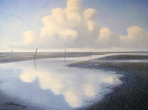 Lothar Strübbe, Priel in Watt in Ostfriesland, Landscapes: Sea/Ocean, Landscapes: Beaches, Naturalism, Expressionism