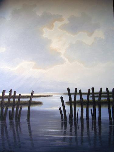 Lothar Strübbe, Wattenmeer in Ostfriesland, Landscapes: Sea/Ocean, Nature: Water, Naturalism