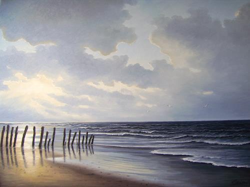 Lothar Strübbe, Abendstimmung an der Nordsee in Ostfriesland, Landscapes: Sea/Ocean, Nature: Water, Naturalism