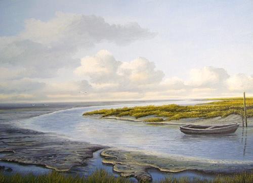 Lothar Strübbe, Priel in Watt in Ostfriesland, Landscapes: Sea/Ocean, Nature: Water, Naturalism