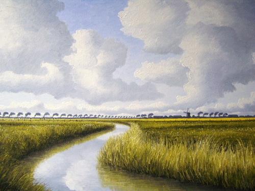 Lothar Strübbe, Landschaft in Ostfriesland, Landscapes: Summer, Nature: Water, Naturalism