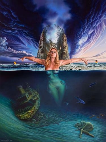 Roland H. Heyder, San Eugenio Alto oder vom Gesang der Geistlichen, Erotic motifs: Female nudes, Landscapes: Sea/Ocean, Post-Surrealism, Expressionism