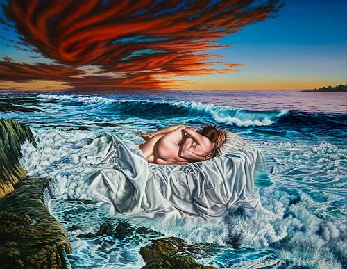 Roland H. Heyder, Mutter Erde, Landscapes: Sea/Ocean, People: Couples, Hyperrealism, Expressionism