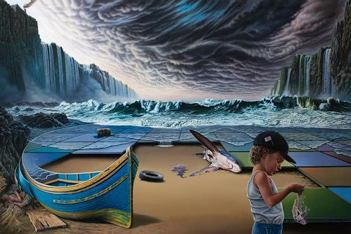 Roland H. Heyder, No!, Landscapes: Sea/Ocean, Nature: Earth, Hyperrealism, Abstract Expressionism