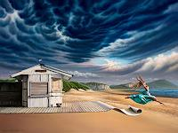 Roland-H.-Heyder-Landscapes-Sea-Ocean-People-Women-Modern-Age-Photo-Realism-Hyperrealism