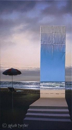 Roland H. Heyder, Abends am Strand, Landscapes: Sea/Ocean, Nature: Water, Hyperrealism, Expressionism