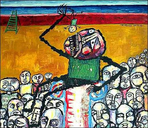 Ricardo Ponce, El carnaval de Saturno, Burlesque, People: Group, Art Brut, Abstract Expressionism