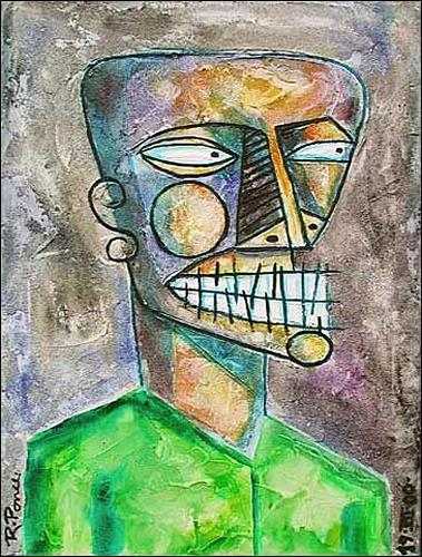 Ricardo Ponce, Negro, Emotions: Aggression, People: Portraits, Art Brut, Abstract Expressionism