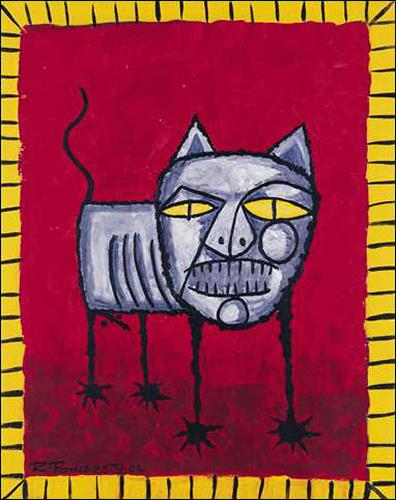 Ricardo Ponce, Gato, Animals: Land, Miscellaneous Animals, Art Brut, Abstract Expressionism