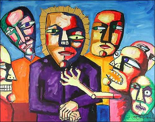 Ricardo Ponce, N/T, Religion, People: Group, Symbolism, Abstract Expressionism