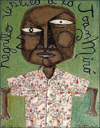 Ricardo Ponce, Negrito Vestido A Lo Joan Miró, People: Portraits, Humor, Neo-Expressionism, Expressionism