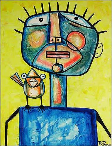 Ricardo Ponce, Personajo Y Pajaro, Animals: Air, Humor, Expressionism