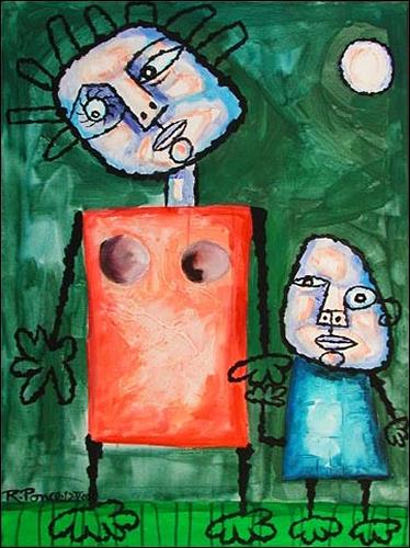 Ricardo Ponce, Madre E Hijo, Poetry, People: Families, Primitive Art/Naive Art, Expressionism