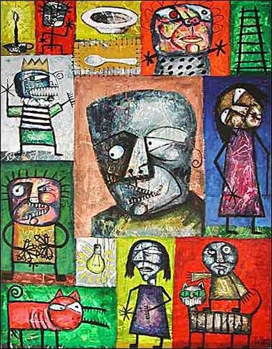 Ricardo Ponce, La Salida De Mi Chica, Symbol, Fantasy, Abstract Expressionism