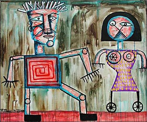 Ricardo Ponce, Yaser Y La Mujer Pajaro, People: Couples, Miscellaneous, Pop-Art, Abstract Expressionism