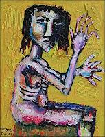 Ricardo-Ponce-People-Women-Emotions-Fear-Modern-Age-Abstract-Art-Art-Brut