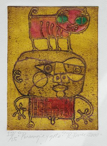 Ricardo Ponce, Personaje Y Gato, Miscellaneous People, Symbol, Art Brut, Abstract Expressionism