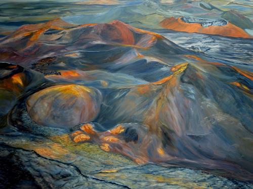 Theresia Züllig, Vulkanlandschaft, Nature: Fire, Landscapes: Hills, Naturalism, Expressionism