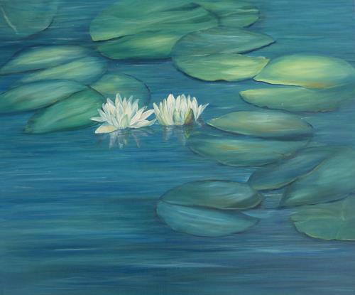 Theresia Züllig, Seerosenpaar, Landscapes: Summer, Nature: Water, Naturalism