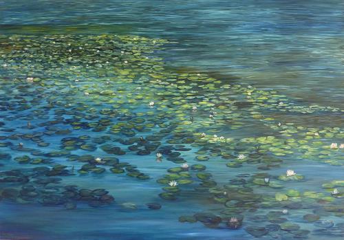 Theresia Züllig, Seerosenlandschaft, Landscapes: Summer, Nature: Water, Naturalism