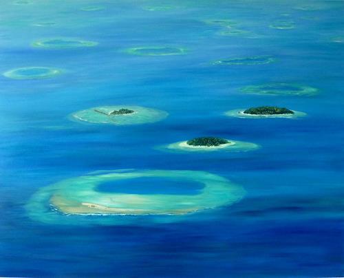 Theresia Züllig, Flug über den Malediven, Landscapes: Sea/Ocean, Nature: Water, Naturalism