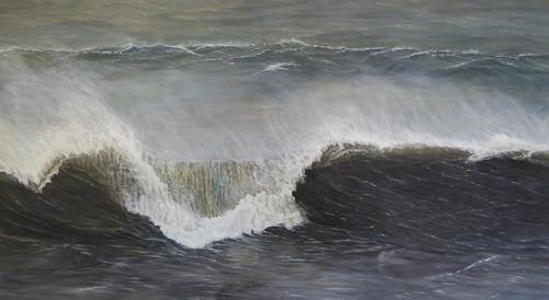 Theresia Züllig, Sturmwelle Korsika, Nature: Water, Landscapes: Sea/Ocean, Naturalism, Expressionism