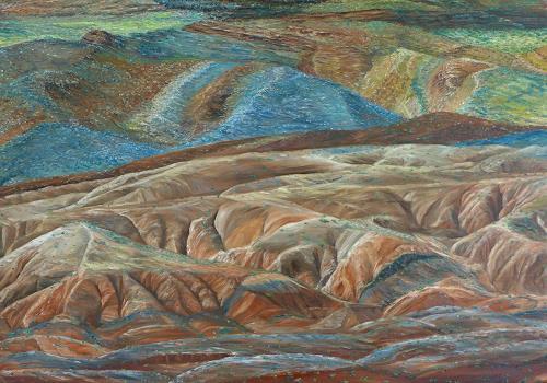 Theresia Züllig, Farbige Landschaft Utha USA, Nature: Earth, Landscapes: Hills, Naturalism