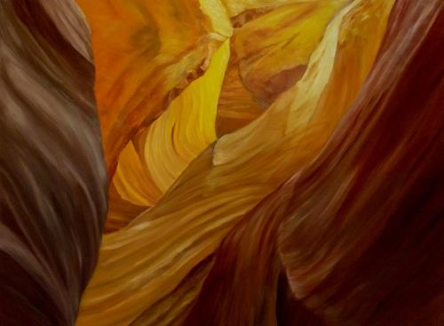 Theresia Züllig, Lichtspiel im Canyon, Nature: Earth, Landscapes: Hills, Naturalism, Expressionism