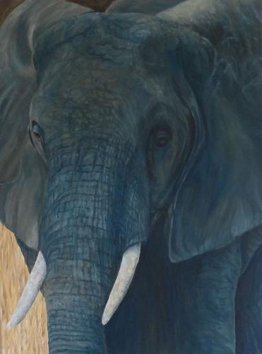 Theresia Züllig, Elefant in Tansania, Animals: Land, Miscellaneous, Naturalism, Expressionism