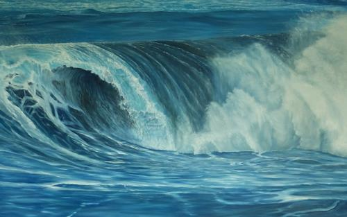 Theresia Züllig, Wellenrolle auf Teneriffa, Nature: Water, Landscapes: Sea/Ocean, Naturalism, Expressionism