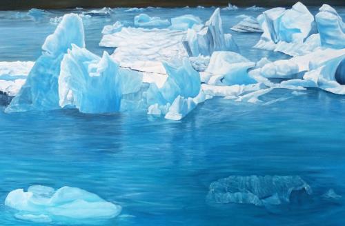 Theresia Züllig, Gletscherschmelzen, Nature: Water, Miscellaneous Landscapes, Naturalism, Expressionism