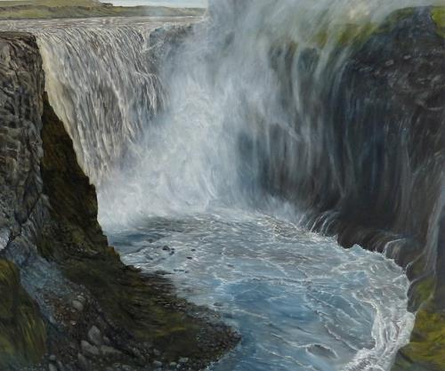 Theresia Züllig, Wasserfall Island, Landscapes, Nature: Water, Naturalism, Expressionism