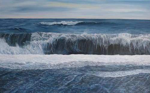 Theresia Züllig, Wellenrolle mi Vulkansand Island, Nature: Water, Landscapes: Sea/Ocean, Naturalism, Expressionism